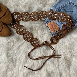 🌛Vintage 🌛 boho leather studded tie belt